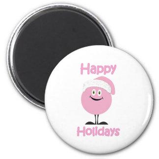 Ornamento rosado feliz que le desea buenas fiestas imán de frigorífico