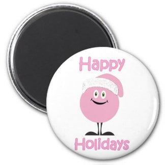 Ornamento rosado feliz que le desea buenas fiestas imán para frigorífico