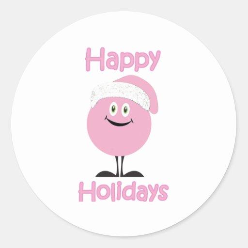 Ornamento rosado feliz que le desea buenas fiestas pegatina redonda