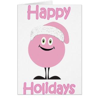 Ornamento rosado feliz que le desea buenas fiestas tarjeta de felicitación