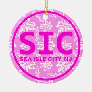 Ornamento rosado personalizado de la ciudad NJ de Ornamento Para Arbol De Navidad