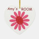 Ornamento rosado personalizado del bebé de la flor ornamento para arbol de navidad