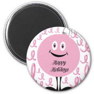 Ornamento rosado que le desea buenas fiestas imanes para frigoríficos
