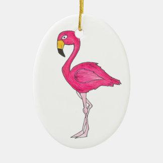 Ornamento rosado tropical del pájaro del flamenco adorno navideño ovalado de cerámica