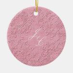 Ornamento rosado y blanco elegante del navidad del ornamentos de reyes