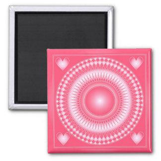 Ornamento rosado y blanco imán cuadrado