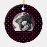 Ornamento rosado y lunares negros que casan Keepsa Adornos De Navidad