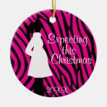 Ornamento rosado y negro del embarazo de la cebra ornamentos de navidad