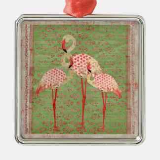 Ornamento rosado y verde bonito de los flamencos adorno navideño cuadrado de metal
