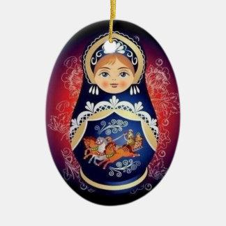 Ornamento ruso del navidad de Babushka de la Adorno Navideño Ovalado De Cerámica
