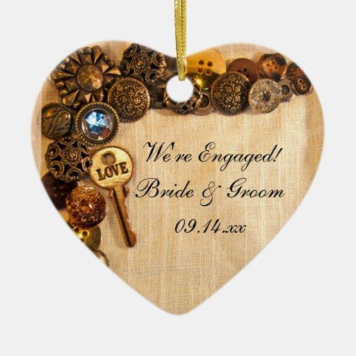 Ornamento rústico del compromiso de los botones adorno para reyes