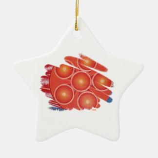 Ornamento sacro anaranjado de la estrella del adorno navideño de cerámica en forma de estrella