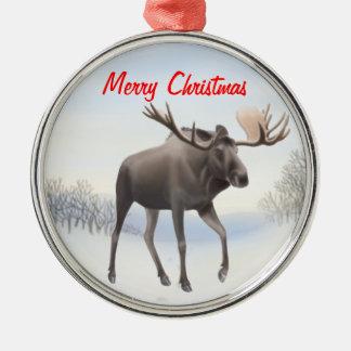 Ornamento septentrional salvaje del personalizable adorno navideño redondo de metal