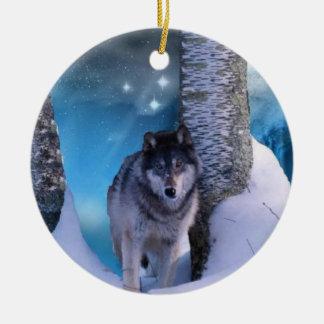 Ornamento sereno del lobo ornamentos de reyes magos