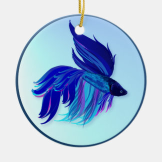 Ornamento siamés azul grande de los pescados que adorno redondo de cerámica