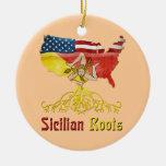 Ornamento siciliano americano de las raíces adorno navideño redondo de cerámica