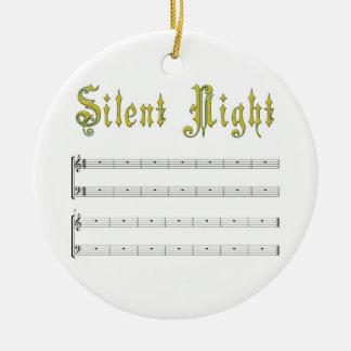 Ornamento silencioso del blanco de la noche adorno navideño redondo de cerámica