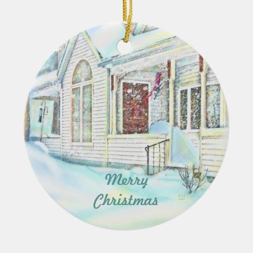 Ornamento sitiado por la nieve del navidad ornamentos de reyes