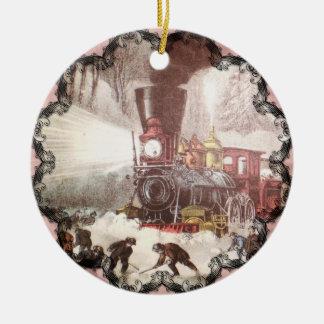 Ornamento sitiado por la nieve del tren ornamentos de reyes magos