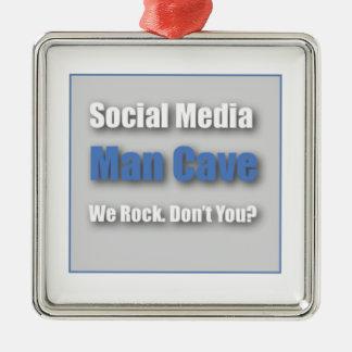 Ornamento social de la cueva del hombre de los adorno cuadrado plateado