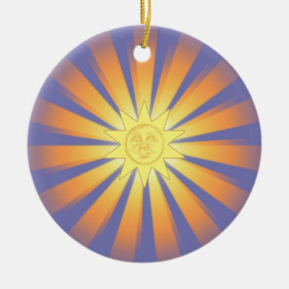 Ornamento soleado del navidad adorno navideño redondo de cerámica