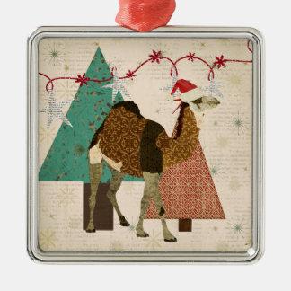 Ornamento soñador de la noche estrellada del adorno navideño cuadrado de metal