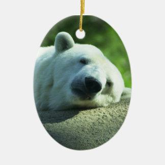 Ornamento soñoliento del oso polar adorno navideño ovalado de cerámica