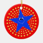 Ornamento sonriente azul del recuerdo del navidad ornamento de navidad