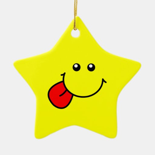 Ornamento sonriente de la estrella adorno navideño de cerámica en forma de estrella