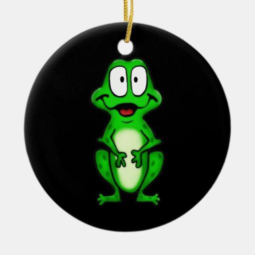 Ornamento sonriente de la rana ornamento para arbol de navidad