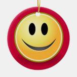 Ornamento sonriente del navidad de la cara (rojo) ornamento para arbol de navidad