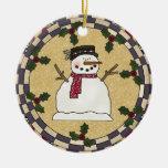 Ornamento sonriente feliz del navidad del muñeco ornamentos de navidad