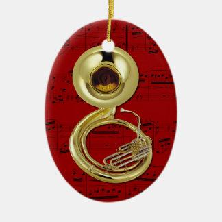 Ornamento - Sousaphone (tuba) - escoja su color Adorno Navideño Ovalado De Cerámica