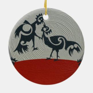 Ornamento sparring del círculo de la impresión del adorno navideño redondo de cerámica