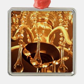 ORNAMENTO Sq lamentable de Bling 1-Gold de la Adorno Navideño Cuadrado De Metal