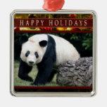 Ornamento Squar del navidad de la panda gigante o Adornos De Navidad