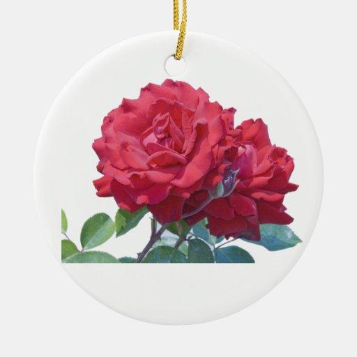 Ornamento, subió y tulipán adorno redondo de cerámica