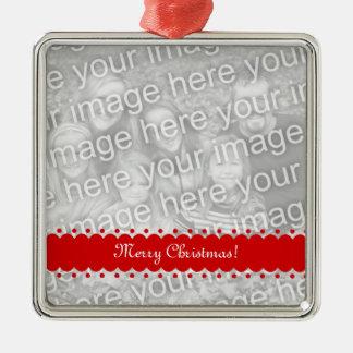 Ornamento superior cuadrado de la foto del navidad adorno navideño cuadrado de metal