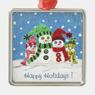 Ornamento superior del navidad de la familia de adorno navideño cuadrado de metal
