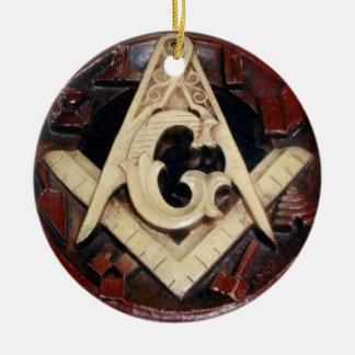 Ornamento tallado de la placa adorno navideño redondo de cerámica