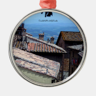 Ornamento - tejados sobre San Gimignano Adorno Navideño Redondo De Metal