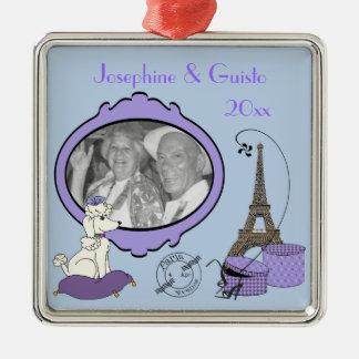Ornamento temático francés púrpura del recuerdo de adorno navideño cuadrado de metal