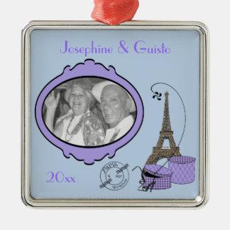 Ornamento temático púrpura del recuerdo de la foto adorno navideño cuadrado de metal