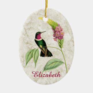 Ornamento Throated Amethyst del colibrí Adorno Navideño Ovalado De Cerámica