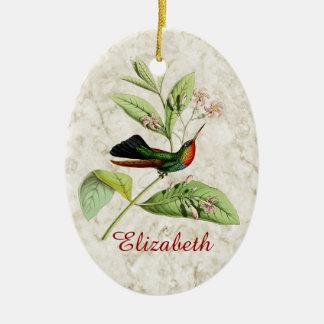 Ornamento Throated ardiente del colibrí Adorno Navideño Ovalado De Cerámica
