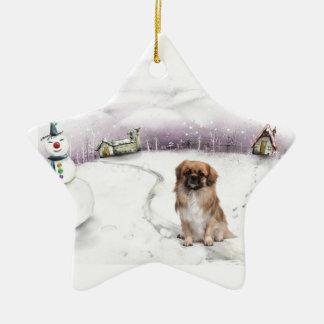 Ornamento tibetano del navidad del perro de aguas ornatos
