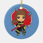 Ornamento trigueno del chica del bombero de Kawaii Ornamentos Para Reyes Magos