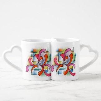 Ornamento triple - pintura abstracta de la tazas para enamorados