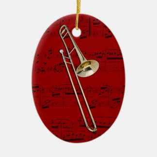 Ornamento - Trombone (tenor) - escoja su color Adorno Navideño Ovalado De Cerámica