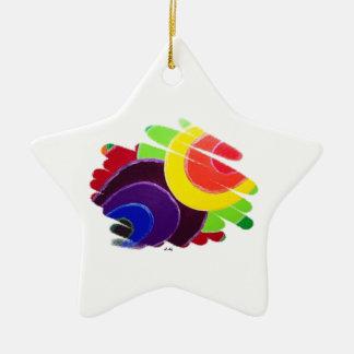Ornamento tropical de la estrella de los espirales adorno navideño de cerámica en forma de estrella